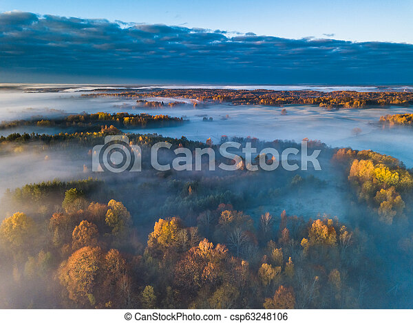 Aerial view of fog in Autumn, Lithuania - csp63248106