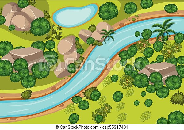 Aerial view of forest and river - csp55317401