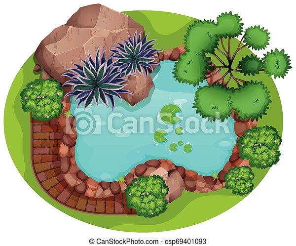 Aerial view of garden - csp69401093