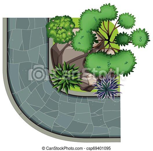 Aerial view of garden - csp69401095