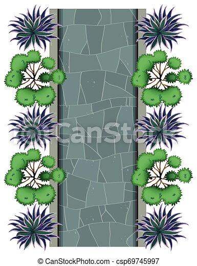 Aerial view of garden - csp69745997