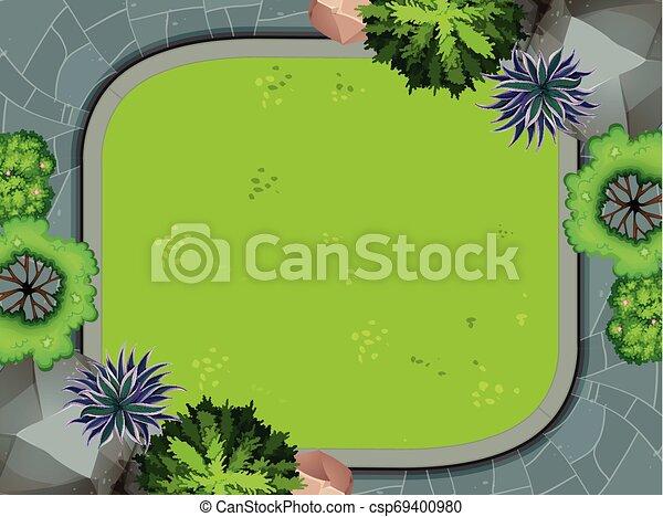 Aerial view of garden - csp69400980