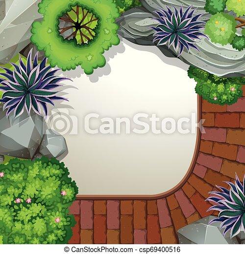 Aerial view of garden - csp69400516