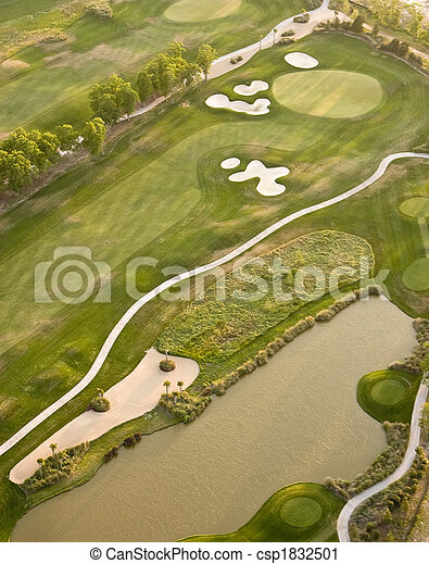 aerial view of golf course - csp1832501