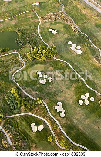aerial view of golf course - csp1832503