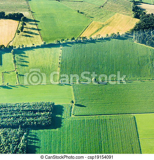 aerial view of green fields and slopes  - csp19154091