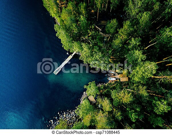 Aerial view of green forest, blue lake and wooden pier with boats in Finland. - csp71088445