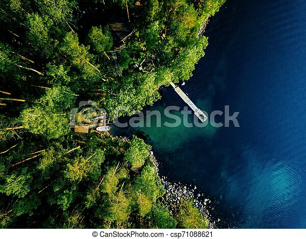 Aerial view of green forest, blue lake and wooden pier with boats in Finland. - csp71088621