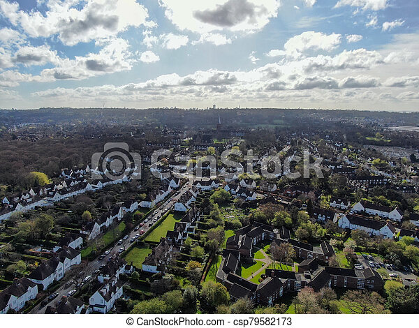 Aerial view of Hampstead Garden Suburb, an elevated suburb of London. - csp79582173
