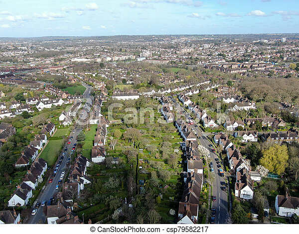 Aerial view of Hampstead Garden Suburb, an elevated suburb of London. - csp79582217