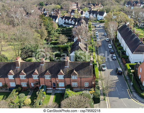 Aerial view of Hampstead Garden Suburb, an elevated suburb of London. - csp79582218