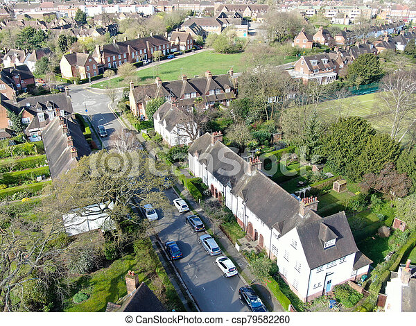 Aerial view of Hampstead Garden Suburb, an elevated suburb of London. - csp79582260