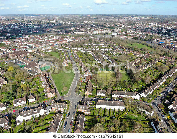 Aerial view of Hampstead Garden Suburb, an elevated suburb of London. - csp79642161