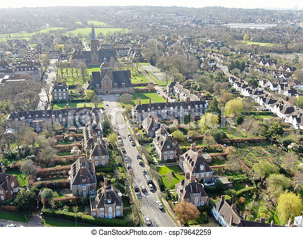 Aerial view of Hampstead Garden Suburb and St. Jude's Church, London - csp79642259