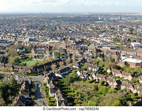 Aerial view of Hampstead Garden Suburb, an elevated suburb of London. - csp79582240
