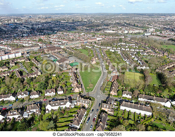 Aerial view of Hampstead Garden Suburb, an elevated suburb of London. - csp79582241