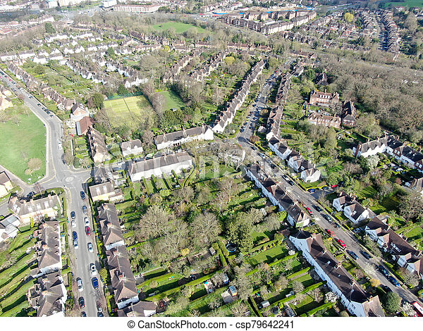 Aerial view of Hampstead Garden Suburb, an elevated suburb of London. - csp79642241