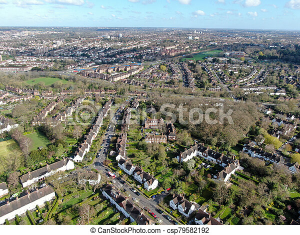 Aerial view of Hampstead Garden Suburb, an elevated suburb of London. - csp79582192