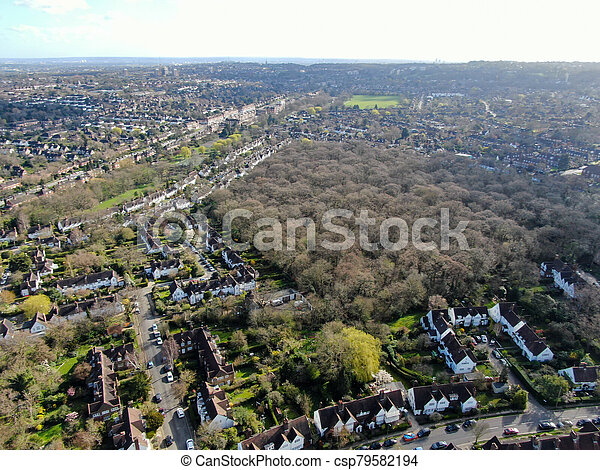 Aerial view of Hampstead Garden Suburb, an elevated suburb of London. - csp79582194