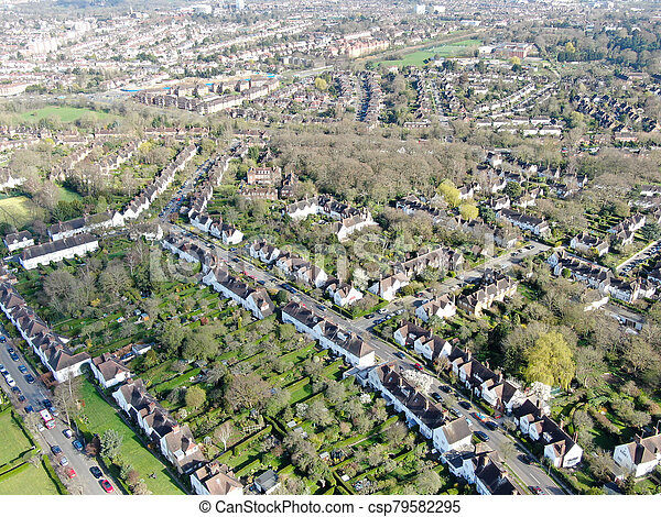 Aerial view of Hampstead Garden Suburb, an elevated suburb of London. - csp79582295