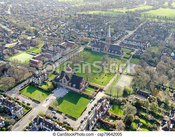 Aerial view of Hampstead Garden Suburb and St. Jude's Church, London - csp79642005