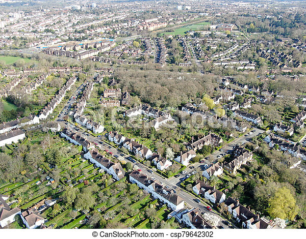 Aerial view of Hampstead Garden Suburb, an elevated suburb of London. - csp79642302