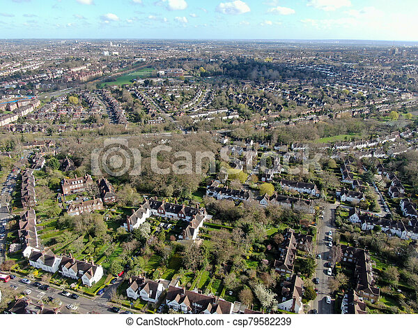 Aerial view of Hampstead Garden Suburb, an elevated suburb of London. - csp79582239
