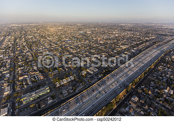 Aerial View of Harbor 110 Freeway in South Los Angeles - csp50242012