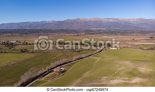 Aerial view of harvest fields - csp67249974