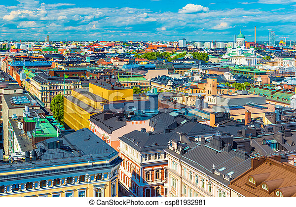 Aerial view of Helsinki with colorful historical buildings and the Cathedral, Finland - csp81932981