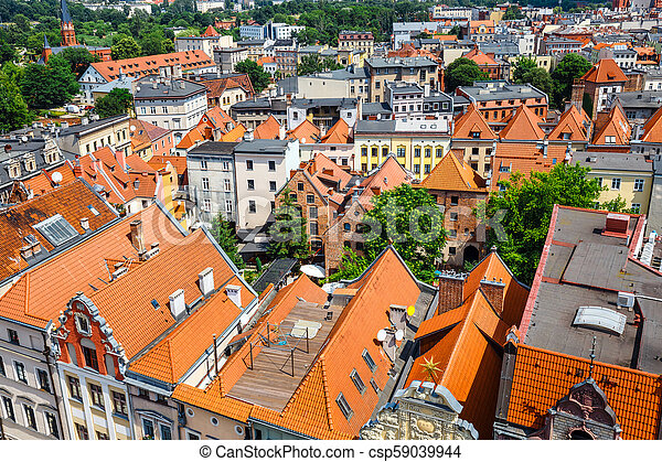 Aerial view of historical buildings and roofs in Polish medieval town Torun, Poland - csp59039944