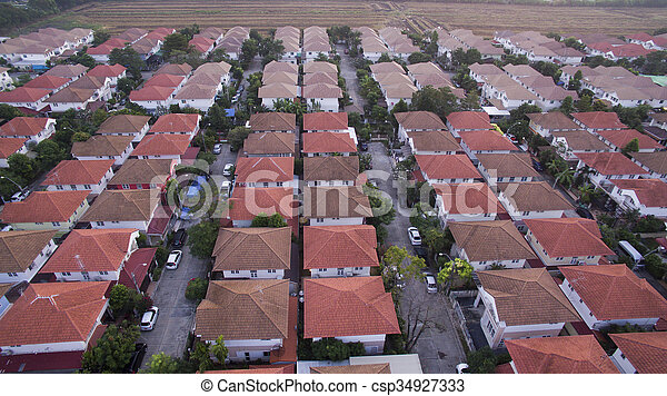 aerial view of home village in thailand use for land development and property real estate business - csp34927333