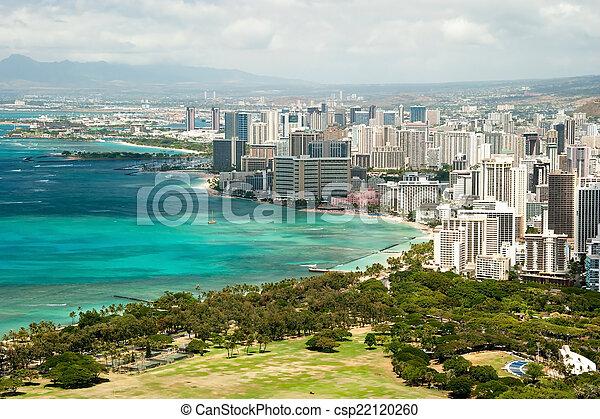 Aerial view of Honolulu and Waikiki beach from Diamond Head - csp22120260