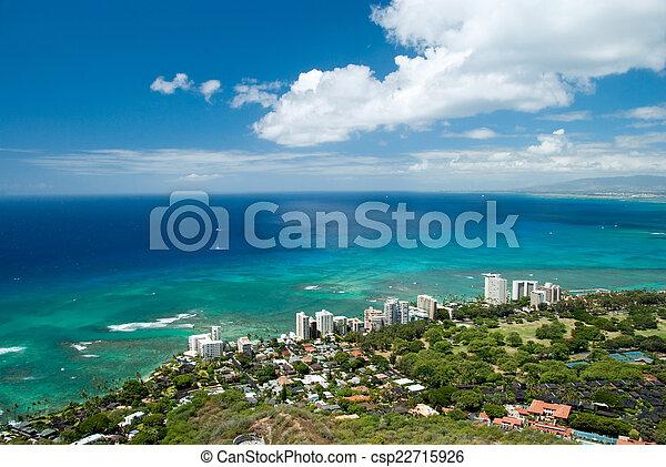 Aerial view of Honolulu and Waikiki beach from Diamond Head - csp22715926