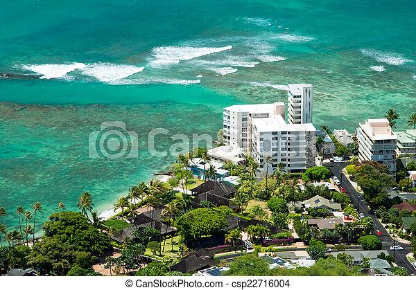 Aerial view of Honolulu and Waikiki beach from Diamond Head - csp22716004