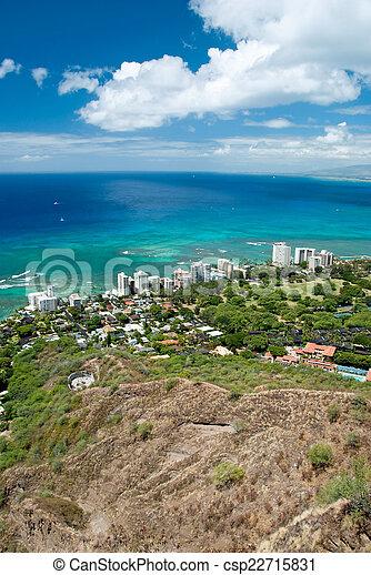 Aerial view of Honolulu and Waikiki beach from Diamond Head - csp22715831