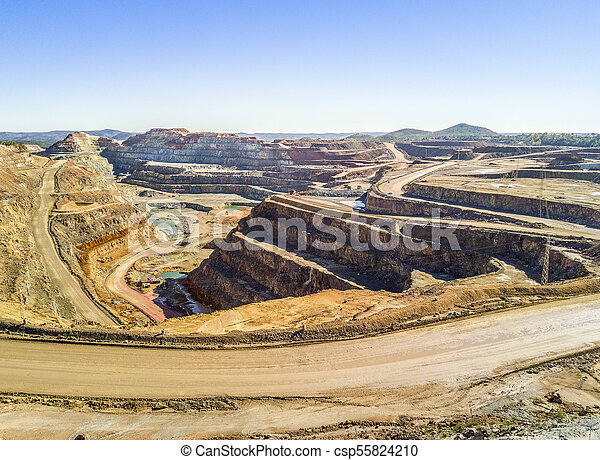 Aerial view of huge, open pit mine - csp55824210