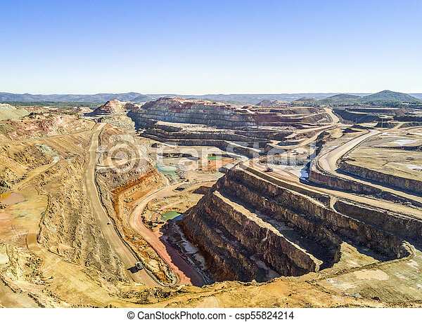 Aerial view of huge, open pit mine - csp55824214