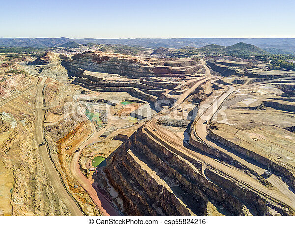 Aerial view of huge, open pit mine - csp55824216