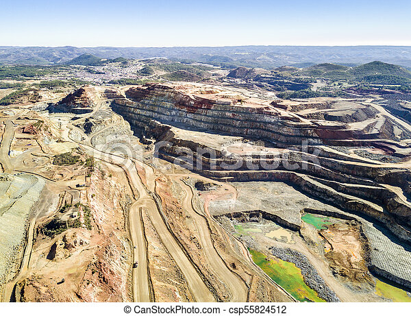 Aerial view of huge, open pit mine - csp55824512