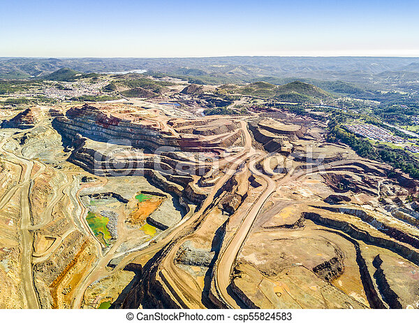 Aerial view of huge, open pit mine - csp55824583