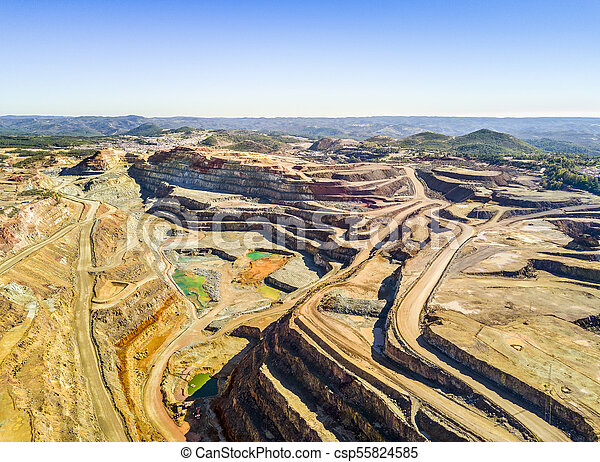 Aerial view of huge, open pit mine - csp55824585