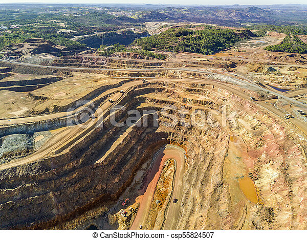 Aerial view of huge, open pit mine - csp55824507