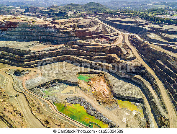 Aerial view of huge, open pit mine - csp55824509