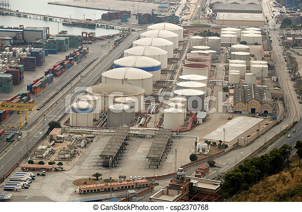 Aerial view of industrial port - csp2370768