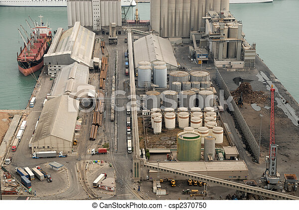 Aerial view of industrial port - csp2370750