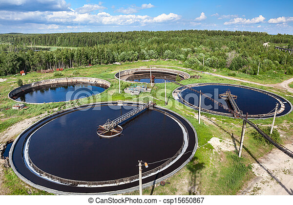 Aerial view of industrial sewage treatment plant - csp15650867
