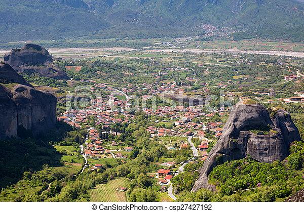 Aerial view of Kalambaka town Meteora cliffs in Greece - csp27427192