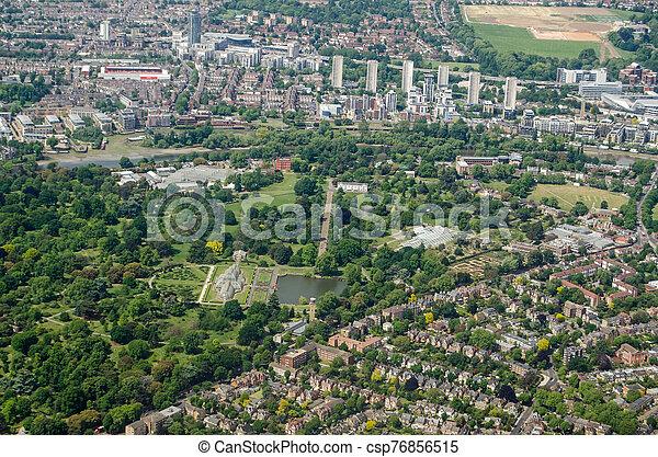 Aerial View of Kew Gardens, London - csp76856515