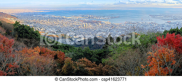 Aerial view of Kobe City from Mount Maya in Autumn season, Japan - csp41623771